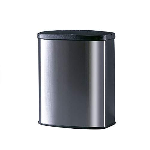 Withou Cocina de Acero Inoxidable sin Contacto del Pedal Cubo de Basura, Negro Top 8L, Sensor automático de Movimiento Oval Bote de Basura, la Tapa del Sensor automático, casa u Oficina, Adecuado par