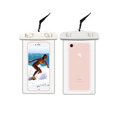 TUXUNQING 2 Unidades Funda Impermeable Universal,Funda Impermeable Móvil,Bolsa Estanca Móvil Universal,Adecuada para Diferentes Series de Teléfonos Móviles como iPhone/Samsung/Huawei(Blanco * 2