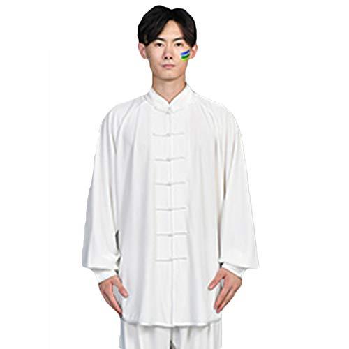 LHMYHHH Gold Samt Übungskleidung Verdickt Traditionelle Chinesische Kleidung Tai Chi Uniformen Taiji Tang Anzug Morgenübung Kleidung Kleidung Martial,Weiß,XXXL