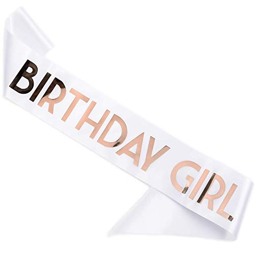 CORRURE Birthday Girl Sash with Rose Gold Foil - Soft Satin White Sash for Women - Happy Birthday Sash for Sweet 16, 18th 21st 25th 30th 40th 50th or Any Other Bday Party
