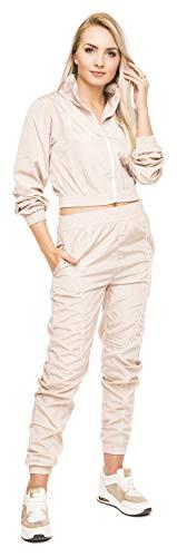 Loomiloo Zweiteiler bauchfrei Damen Jogginganzug Crop top und Hose Neon Pastell Sommer Sportanzug Hausanzug (Beige, L)