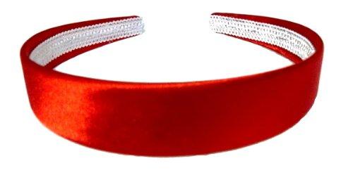 Aliceband Haarreif, leuchtende Farbem Satin, 2,5 cm breit Gr. 25mm max width, rot