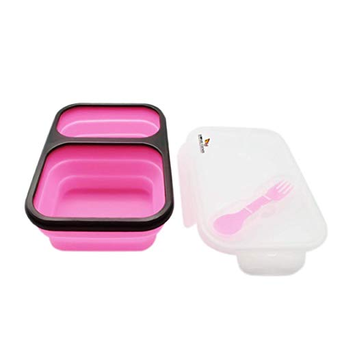 Fiambrera plegable de 2 compartimentos de silicona con cubiertos   sin BPA, ahorra espacio, hermética   apta para microondas y lavaplatos   cajas de almuerzo originales Home Gems   rosa