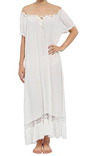 Elegant Damen Nachthemd Schlafanzüge Nachtwäsche Negligees Sleepwear Nachhemd lang