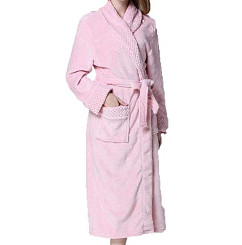 Huixin Morgenmantel Damen Verdicken Winterflanellfrauen Sie Warme Elegant Code Langer Punkt Hausservice Pyjamas Bademantel (Color : Pink, Size : XL)