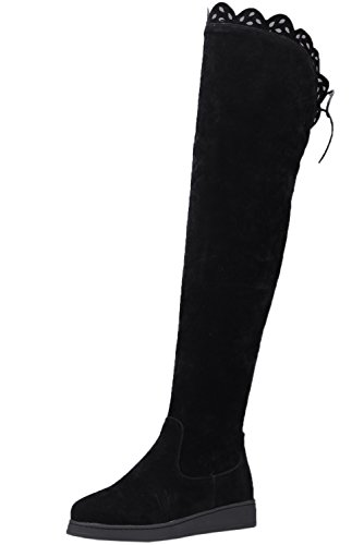 BIGTREE Lang Stiefel Damen Herbst Winter Warm Faux Wildleder Schwarz Spitzen Flach Overknees Stiefel 38 EU