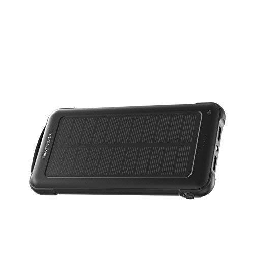 RAVPower Caricabatterie Portatile Solare 10000mAh Powerbank iSmart 2.0, 2 Ingressi(Solare e Presa) Prova di Urto con Mini Torce Luce LED per iPhone Galaxy Android Smartphone Tablet