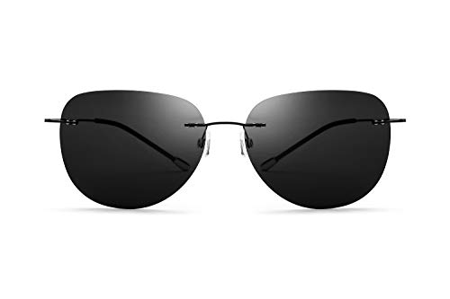Schraubenlose polarisierte Sonnenbrille ultraleichte rahmenlose Titan Shades UV-Schutz Sonnenbrille weiblich und männlich (Color : Black, Size : Normal)