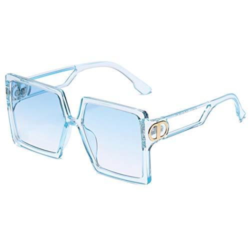 UKKD Gafas de sol cuadradas para mujer y hombre, lentes de color y montura de piel de leopardo, negro