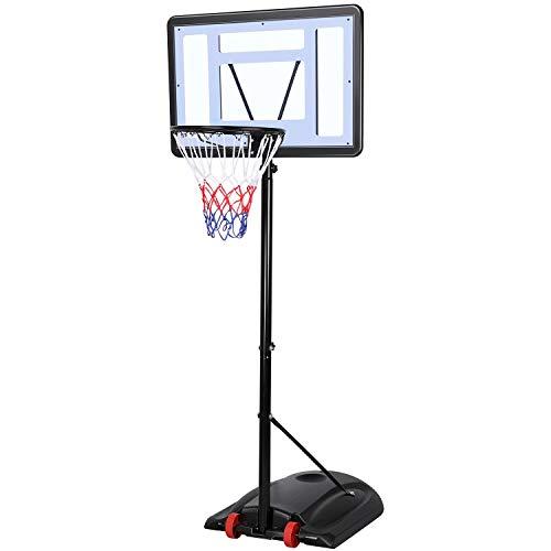Yaheetech Basketballständer Basketballkorb mit Ständer Outdoor Basketballanlage Standfuß mit Wasser oder Sand befüllbar Korbanlage 219-279 cm höhenverstellbar
