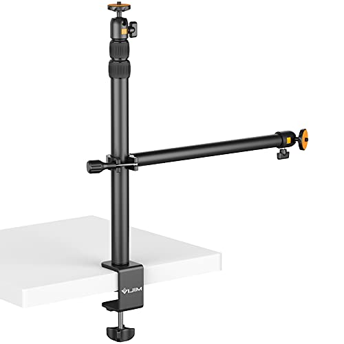 JUSMO Camera Desk Mount with Auxiliary Holding Arm, Overhead Camera Mount with 360° Ballhead and Phone Grip, Table C-Clamp Multi Mount Stand for DSLR, Phone, Light, Webcam and More