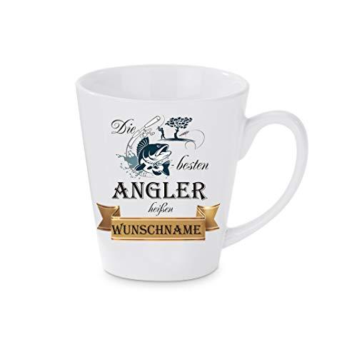 Crealuxe Konische Kaffeetasse, mit Wunschname Die besten Angler heißen (Wunschname) - Kaffeebecher, Becher mit Motiv, Bedruckte Latte oder Cappuccinotasse, auch indualisierbar.