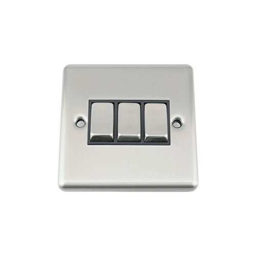 A5 Light Switch - Triple 3 Gang 2 Way - Satin Brushed Chrome - Classic Style Black Insert Metal Rocker Switch