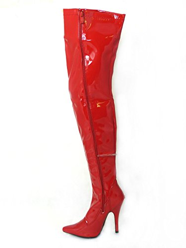 New Womens Ladies Sexy Thigh HIGH Kinky Fetish Over The Knee Stiletto Heel Full Side Zip Boots Size 4 5 6 7 8 (5 UK, Red Patent)