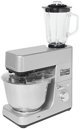 Bestron 4-in-1 keukenmachine (kneden, mixen, vleesmolen, raspen/raspen), 1200 watt, roestvrij staal