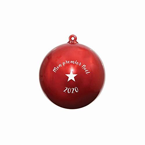 DECOHO Boule de Noël personnalisée sur 2 Faces modèle Mon Premier Noel - Boule de Noël Surprise - Diamètre 8 cm - Plastique - 8