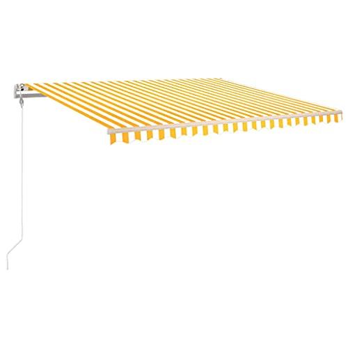 vidaXL Gelenkarmmarkise Automatisch Markise Sonnenmarkise Balkonmarkise Sonnenschutz Sichtschutz Terrasse Garten Balkon 450x300cm Gelb Weiß