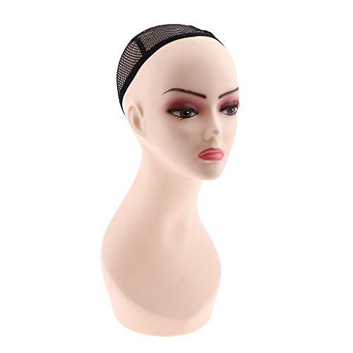 Fenteer Tête de Mannequin Féminin PVC Stand Support pour Perruque Lunettes Foulards Affichage de Coiffures pour Salon Coiffure Magasin Vitrine - #1