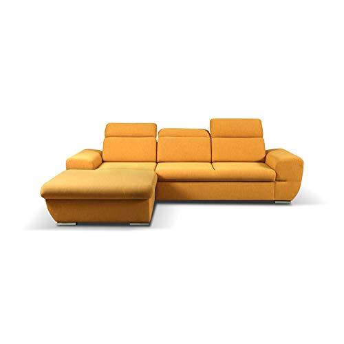 mb-moebel Ecksofa mit Schlaffunktion Eckcouch mit Bettkasten Sofa Couch Wohnlandschaft L-Form Polsterecke Fresno (Gelb, Ecksofa Links)
