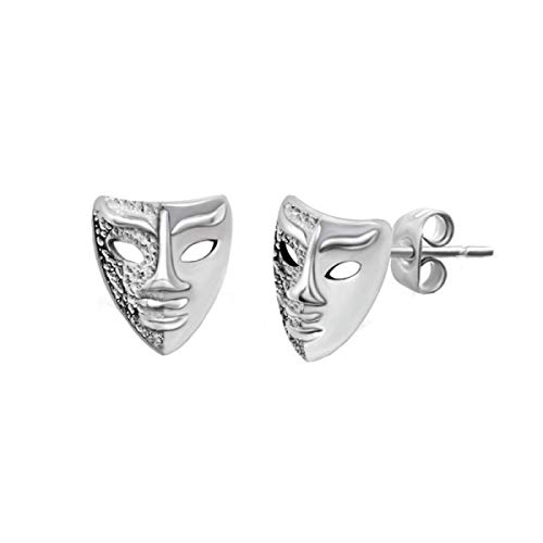 Mens Stud Earrings, 925 Silver Needle Personalized Mask Anti-Allergic Earrings for Men, Personalized Earrings are Suitable for Perfect Boyfriend Gift