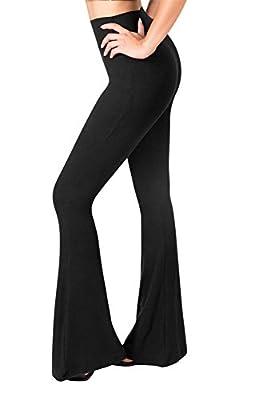 SATINA High Waisted Flare Palazzo Wide Leg Pants   Printed & Solid   Reg & Plus (Small, 1 Black)
