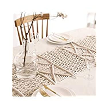 Hiplus Boho Handmade Natural Macrame Table Runner, Macrame Table Placement, Wedding Table Centerpiece, Bed Runner Home Decor (13.7  W x 84  L)