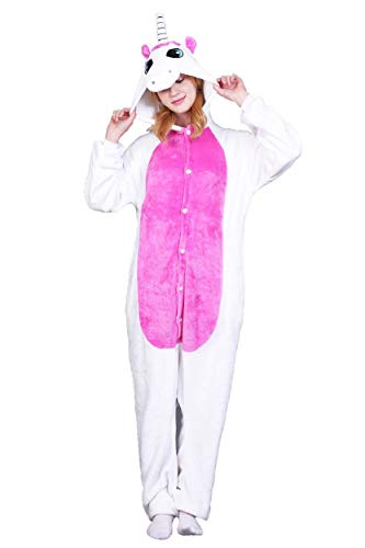 Unicorno Pigiama Unisex Adulto Cosplay Halloween Costume Animale Pigiama Inverno Tuta Animali Unisex