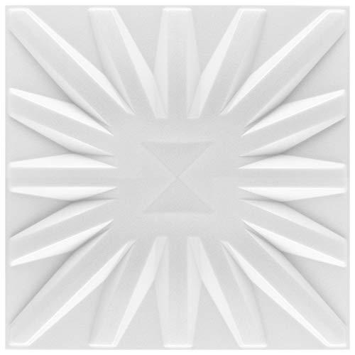 3D Wandpaneele Sparpaket - effektvolle Wandgestaltung mit detaillierten Polystyrolplatten, EPS deutliche Musterung, leicht und stabil - 50 qm 50x50cm Sun