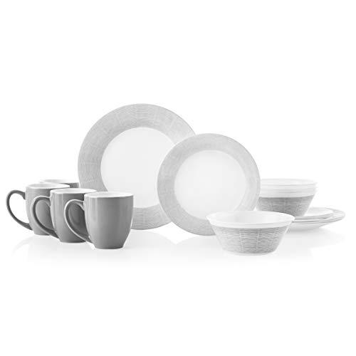 Corelle 16-Piece Dinnerware Set Service for 4, Chip Resistant, Glass, Woven Lines, Vitrelle