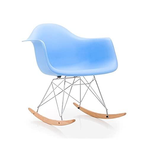 Sillón de diseño Modelo Tow, balancín, Estructura cromada y Madera, Carcasa de Polipropileno de Color Azul