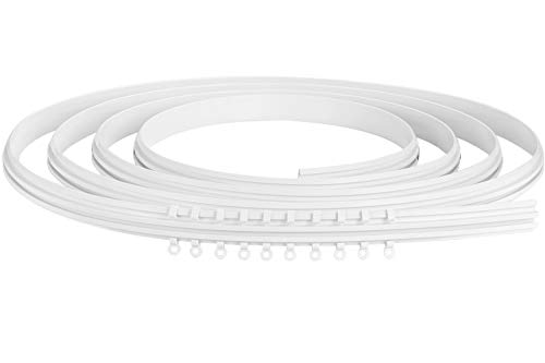 Ceiling Curtain Track, Ceiling Track Mount for Curtain Rail, Flexible Bendable Straight Curved Curtain Track for L Shape U Shape Bunk Bed Curtains DIY Mounting Accessories Included (5 Meters White)