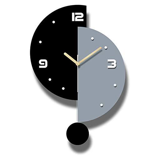 XSZ Modern Design Large Silent Creative Wall Clock Battery Operated for Kitchen Office Living Room Bedroom Decorative (11.6X 17 WxL)