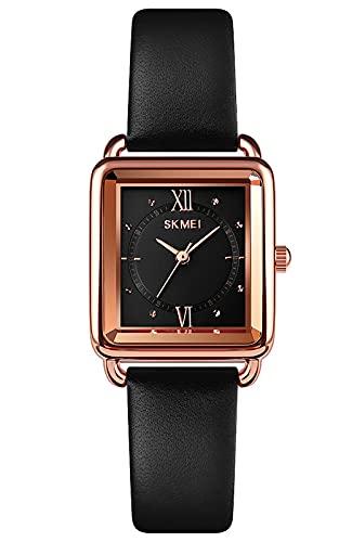 Reloj Mujer Elegante Minimalista Relojes de Pulsera Analógico de Cuarzo Resistente al Agua Relojes Cuadrado para Mujer - Negro