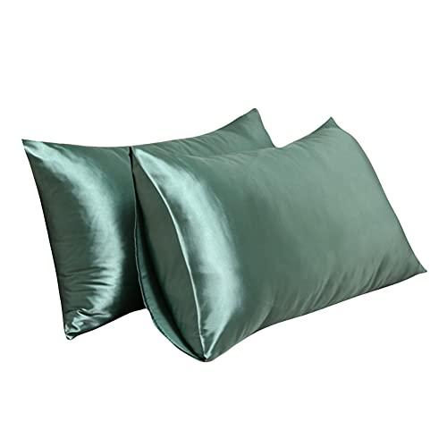 Chytaii Juego de 2 fundas de almohada de 50 x 65 cm, de microfibra de satén, monocolor, suave, para el cuidado del cabello y la piel, color verde-B