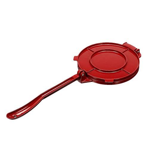 Basage 8 Pulgadas MáQuina de Prensa de Tortillas Herramienta de Prensa de Tortilla Plegable de Bricolaje Herramienta para Hornear de Aluminio, para Restaurante de Cocina (Rojo)