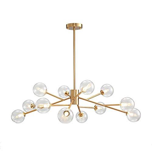 MQJ Lámpara de araña de cristal de 18 luces moderna de oro colgante con globos de vidrio para la industria de la lámpara de techo para sala de estar, comedor, dormitorio, vidrio transparente, 12 luces