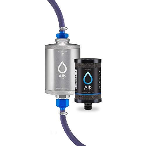 Alb Filter® TRAVEL Active Trinkwasserfilter mit Anschluss-Set für Camping, Wohnwagen und Caravan. Reduziert Schadstoffe, Schwermetalle, Mikro-Plastik. Qualität Made in Germany Silber
