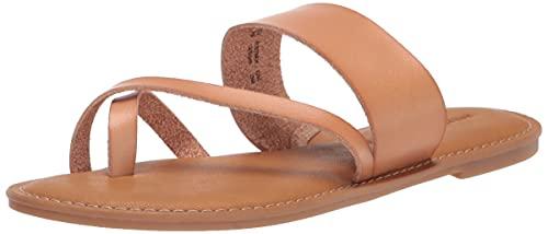 Amazon Essentials Women's One Band Flip Flop Sandal Flat, Natural PU, 7.5 B US