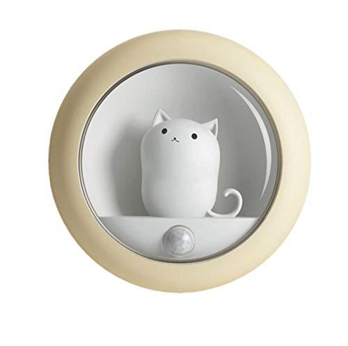 Wufansshop Cat Smart Led Night Light Sensor De Movimiento Pir Lámpara De Noche Recargable Usb Para Habitación Pasillo Camino Decoración De Inodoro Tamaño 7,9 × 7,9 × 3,3 Cm