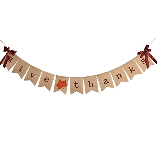 Thanksgiving Burlap Banner Glitter Leaf Bunting Happy Thankful Give Thanks Friendsgiving Party Home Decoration Supplies
