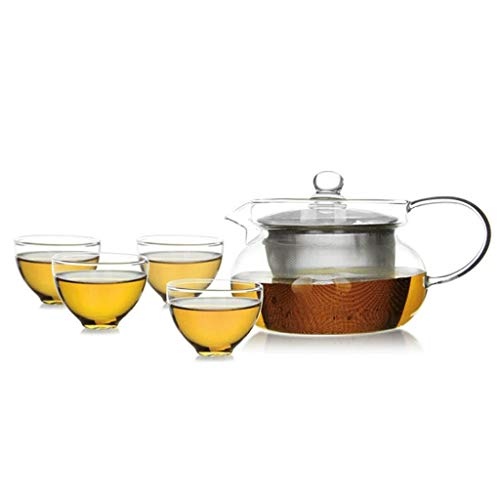 QIXIAOCYB Tetera de vidrio resistente al calor de la flor de la tetera del filtro del té del acero inoxidable del té del drene 420ml