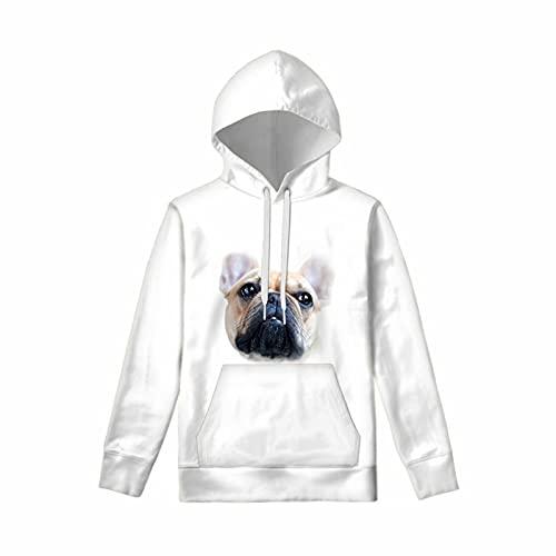 COEQINE Fashion Hoodies for Boys Girls, Cute French Bulldog Print Streetwear Long Sleeve Hooded Sweatshirt Hoody Funny Kids Tops 14-16 Years, White