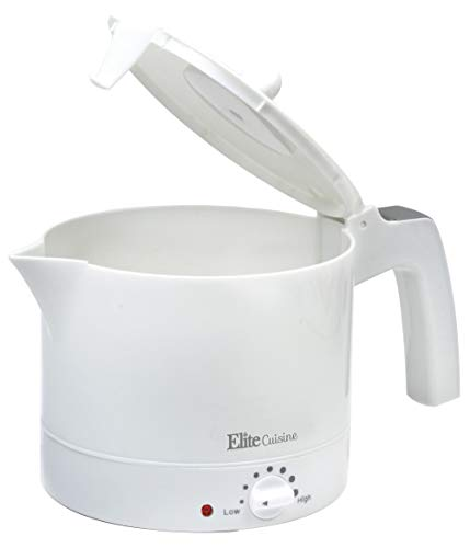 Elite Gourmet 32-Ounce (1-Liter) BPA Free Electric Kettle Hot Pot with Egg Cooker and Steam Rack, White