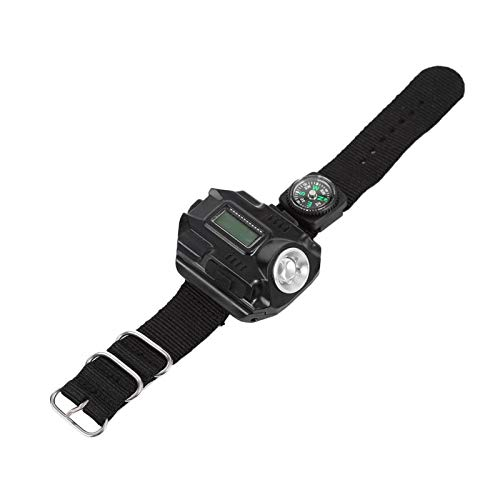 Shipenophy Brújula Linterna LED Reloj USB Linterna Recargable para Senderismo para Viajes