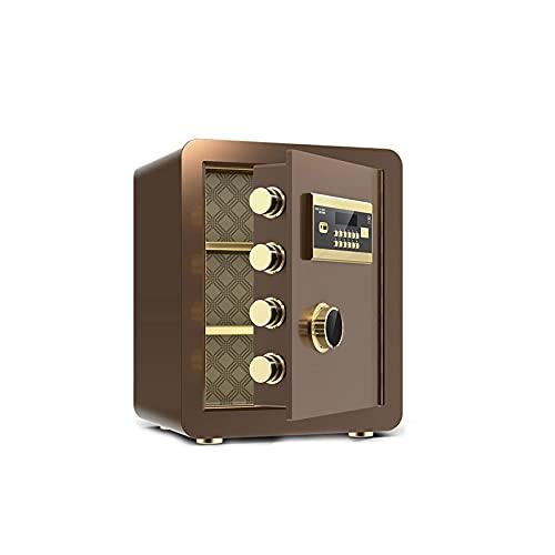GLXYTT Caja De Seguridad Caja De Seguridad para El Hogar Caja De Bloqueo Digital con Teclado Digital para Dinero Caja Fuerte Joyas Documentos De Pasaporte Seguridad De Armas,Marrón