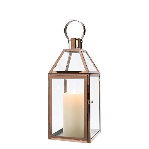 JHY Design Rose Gold Decorative Lanterns 16 inch High Stainless Steel Candle Lanterns with Tempered Glass for Indoor Outdoor Events Parities and Weddings