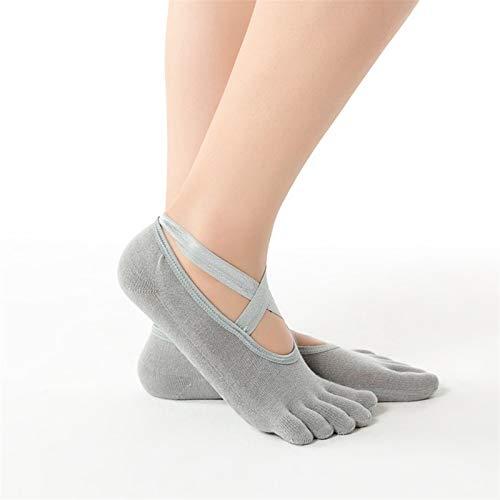 1 pares de mujeres Pilates Yoga Calcetines antideslizantes sin espalda Silicona Sin deslizamiento Calcetines antideslizantes Señoras Ballet Ballet Gimnasio Pilates Calcetines (Color : Gray A)