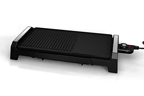 Grunkel BK-DH51 - Plancha de asar eléctrica con zona grill para barbacoa, 2200W, superficie antiadherente, regulador de temperatura, Plancha 25.4 cm x 50.8 cm, Negro