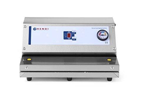 HENDI Vakuumiergerät, Vakuum-Verpackungsmaschine, Digitales Display, Automatischer oder manueller Betrieb möglich, Pumpenleistung: 20 L/min, 230V, 250W, 370x280x(H)170mm, Edelstahl
