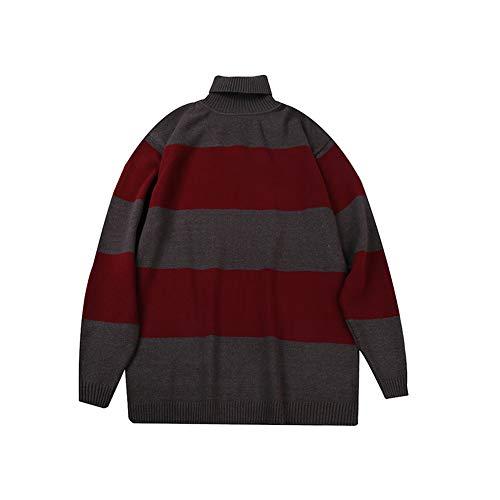 HSKS Gebreide coltrui, mannen gestreepte oversized trui rood grijs gestreepte mannen retro lange mouwen trui herfst en winter